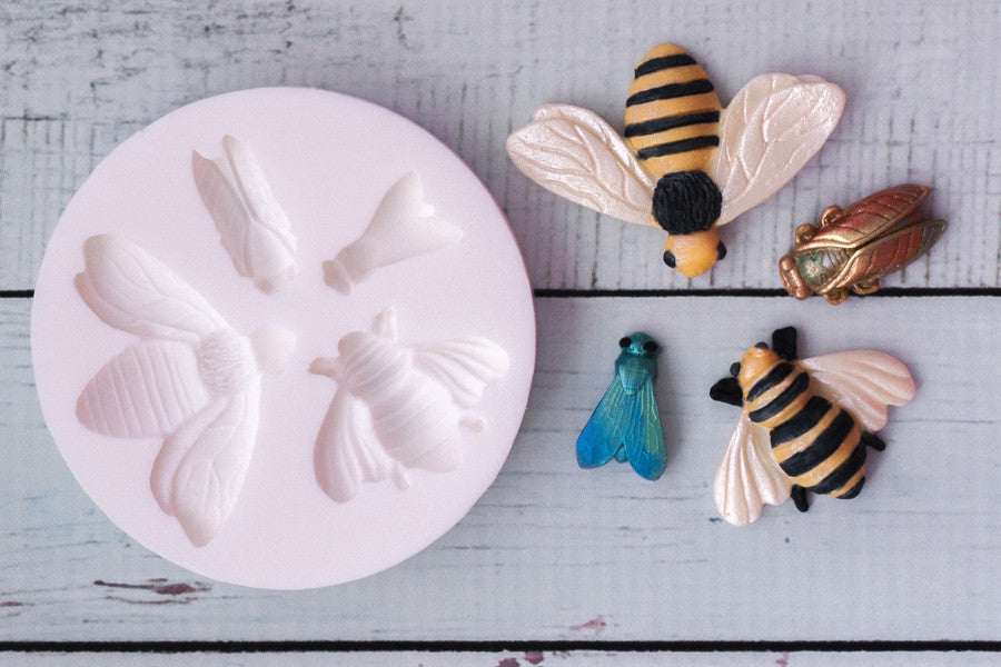 Insect mould -  Bee mould-, Cicada mould- Fly Silicone cupcake Mould - Ellam Sugarcraft Moulds For Fondant Or Chocolate