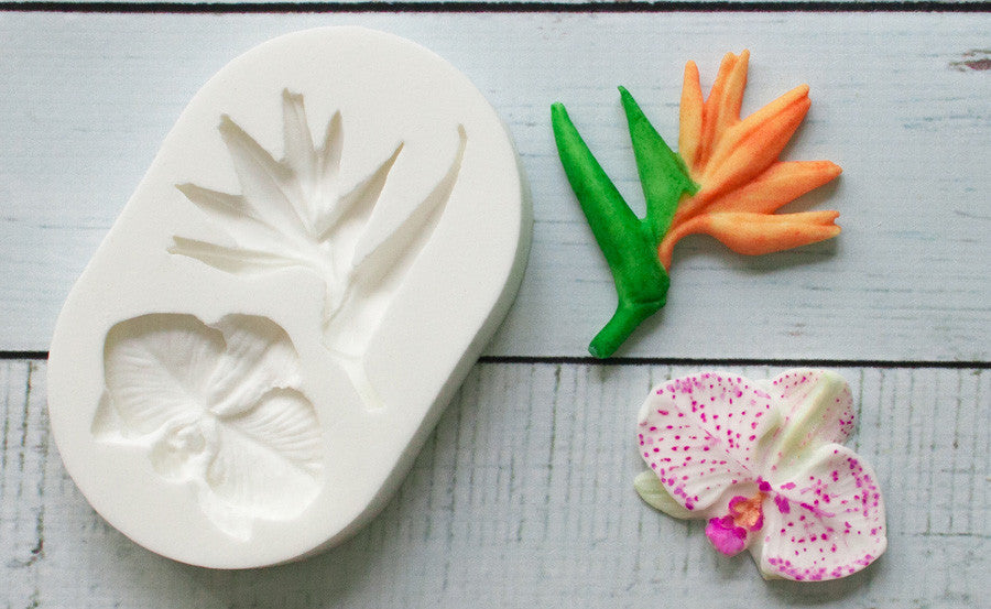 Tropical Flowers, Bird of Paradise & Orchid Silicone Mould - Ellam Sugarcraft Moulds For Fondant Or Chocolate