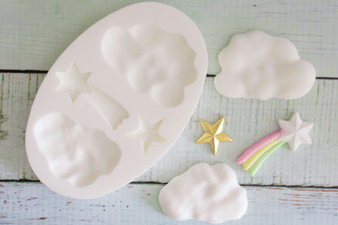 Clouds & Stars Silicone Mould - ellamsugarcraft - 1