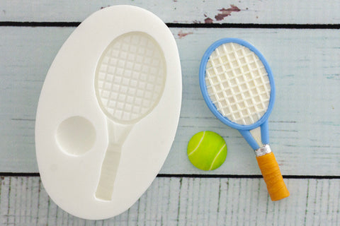 Tennis Racquet & Ball Silicone Mould - Ellam Sugarcraft Moulds For Fondant Or Chocolate