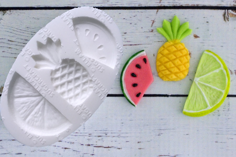 Tropical fruit, Pineapple, Lemon slice, Watermelon Silicone Mould - Ellam Sugarcraft Moulds For Fondant Or Chocolate