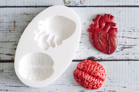 Anatomical Heart & Brain Halloween Silicone Mould by Ellam Sugarcraft