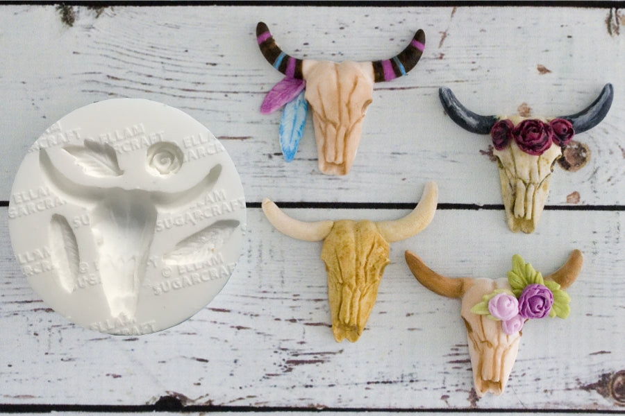Tribal Steer Skull, Cow Skull, Halloween, Gothic Silicone Mould an Original Ellam Sugarcraft Design - Ellam Sugarcraft Moulds For Fondant Or Chocolate