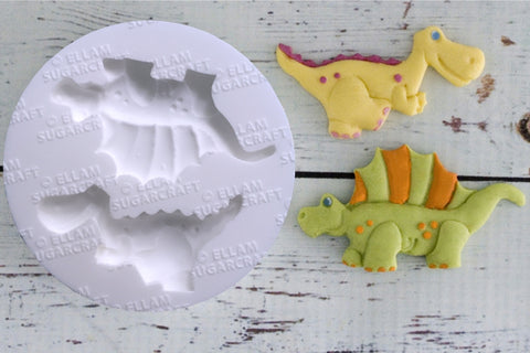 Whimsical dinosaurs, dinosaur Silicone cupcake cake craft Mould - Ellam Sugarcraft Moulds For Fondant Or Chocolate