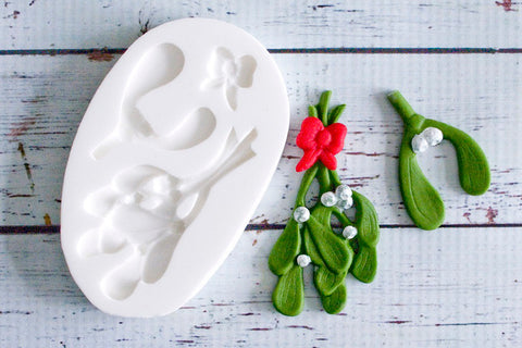 Mistletoe Mould - Christmas mistletoe -  Ellam Sugarcraftcupcake cake craft  Moulds For Fondant Or Chocolate