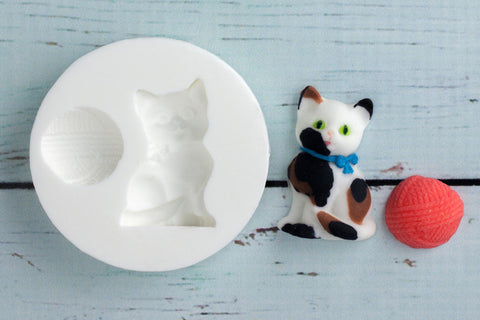 Cat, Kitten & Wool Silicone Mould - Ellam Sugarcraft Moulds For Fondant Or Chocolate