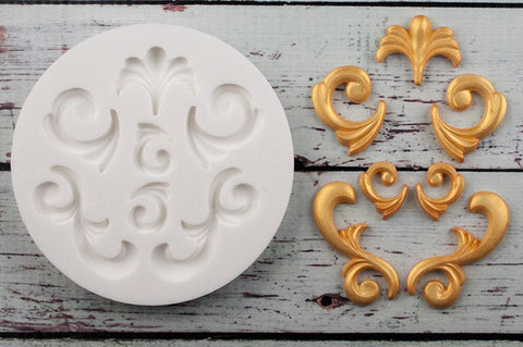 Scrolls & Curls 7 cavity Decorative Flourish Scrolls Silicone Mould
