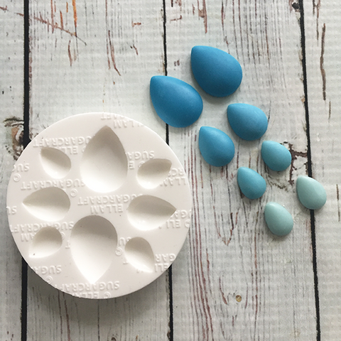 teardrop raindrop cabochon silicone mould, for cake decoration fondant, chocolate, polymer clay