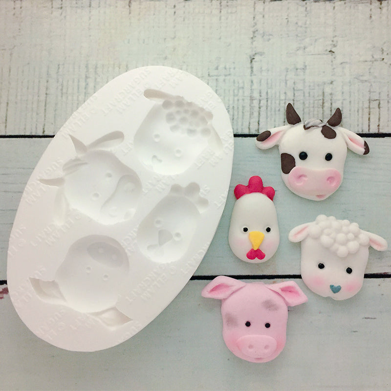 farm animals silicone cupcake mould for fondant, chocolate, craft fimo, clay