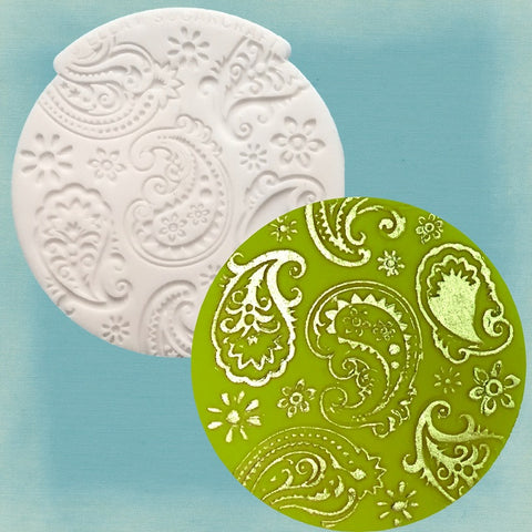 Henna Paisley cupcake embossing mat silicone fondant, clay