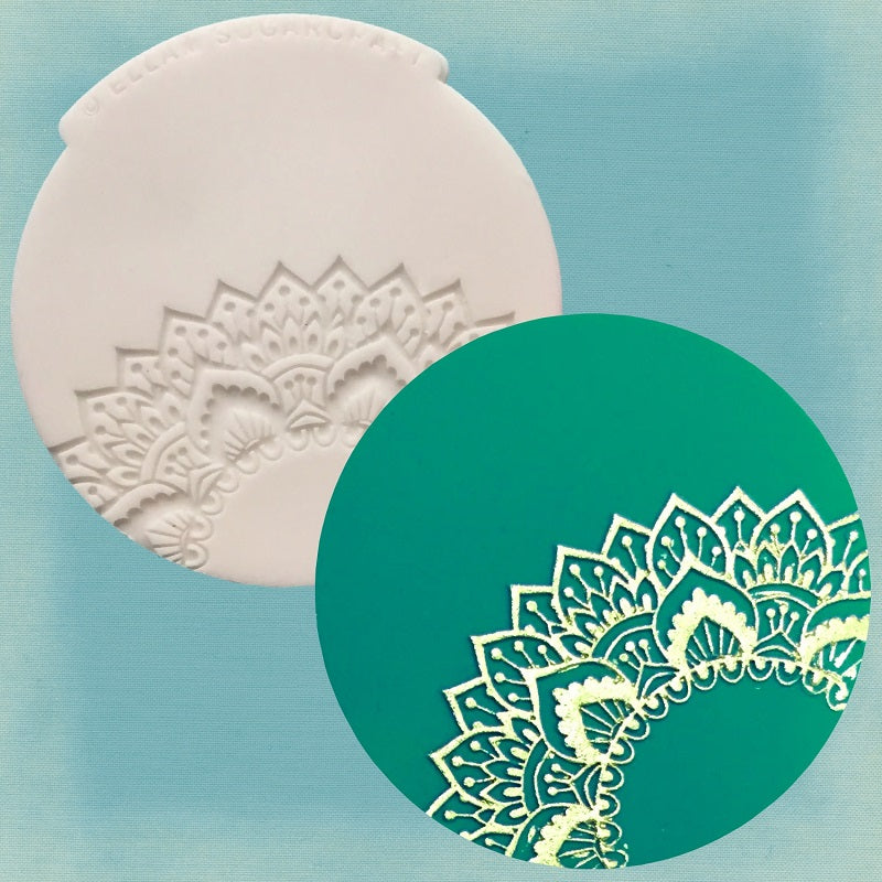 Mehndi inspired,  henna style  cupcake embossing mat,  Silicone Mould (V4)