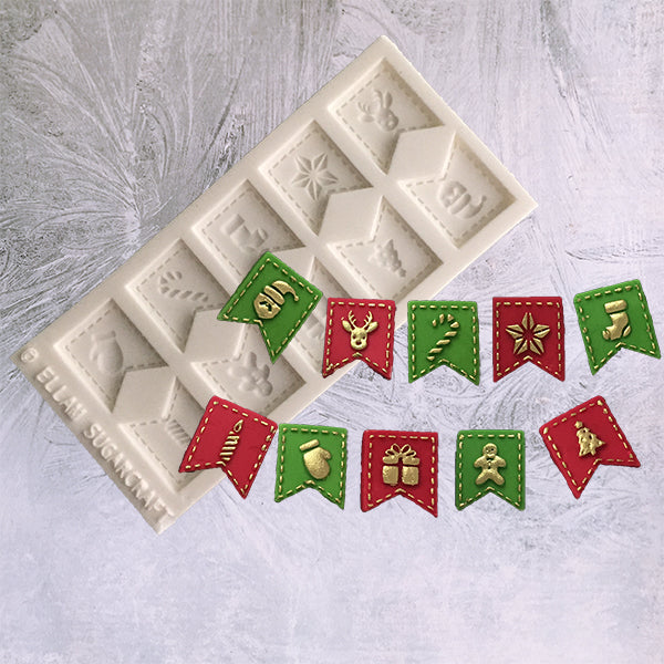 Festive Christmas bunting flags food safe silicone craft mould