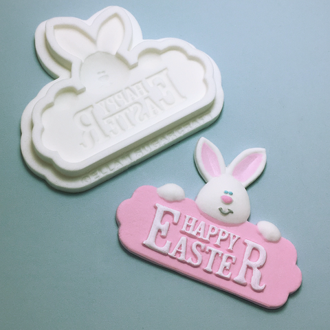 Easter bunny, happy easter rabbit sign, cupcake topper, silicone cake craft mould