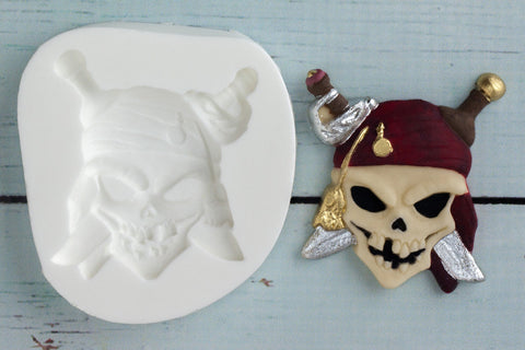 Pirate mould -  Skull Silicone Mould - Ellam Sugarcraft cupcake cake craft Moulds For Fondant Or Chocolate