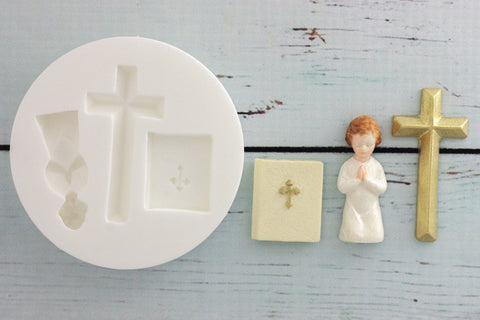 Communion, Bible, Cross & Praying Child Silicone cupcake craft cake Mould - Ellam Sugarcraft Moulds For Fondant Or Chocolate