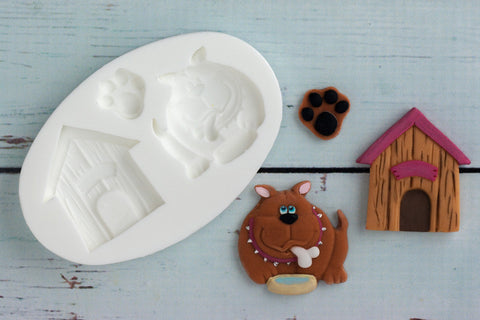 Bulldog Pawprint & Dog Kennel Silicone Mould - Ellam Sugarcraft Moulds For Fondant Or Chocolate