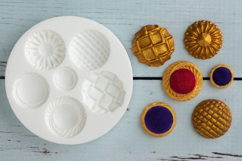 Vintage Style Brooch Buttons Silicone Mould - Ellam Sugarcraft Moulds For Fondant Or Chocolate