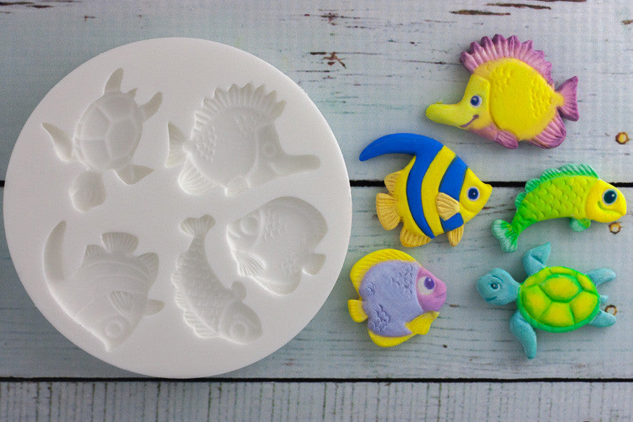 Whimsical Ocean Sealife Fish & Turtle Silicone Mould - Ellam Sugarcraft Moulds For Fondant Or Chocolate