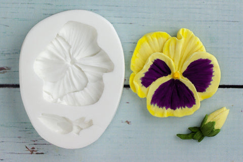 Pansy mould -  spring flower Silicone Mould - Ellam Sugarcraft cupcake cake craft  Moulds For Fondant Or Chocolate