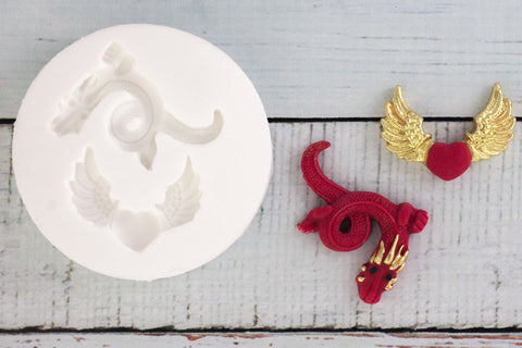 Dragon Silicone Mould - heart mold-Ellam Sugarcraft cupcake cake craft Moulds For Fondant Or Chocolate
