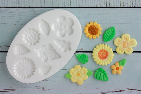 Flowers cupcake mould  Leaves Silicone cupcake cake craft Mould - Ellam Sugarcraft Moulds For Fondant Or Chocolate