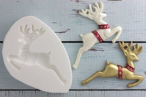 Christmas Reindeer deer stag Silicone cake cupcake craft Mould - Ellam Sugarcraft Moulds For Fondant Or Chocolate
