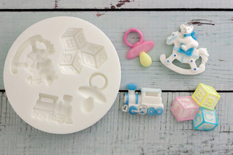 Baby Nursery Silicone Mould, with train, rocking horse,building blocks,pacifier/dummy- ellamsugarcraft