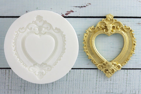 Heart photo Frame Silicone cupcake Mould - picture frame mould- Ellam Sugarcraft craft cake Moulds For Fondant Or Chocolate