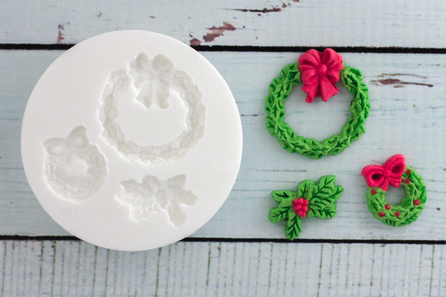 Christmas wreaths Silicone cupcake cake craft Mould - Ellam Sugarcraft Moulds For Fondant Or Chocolate