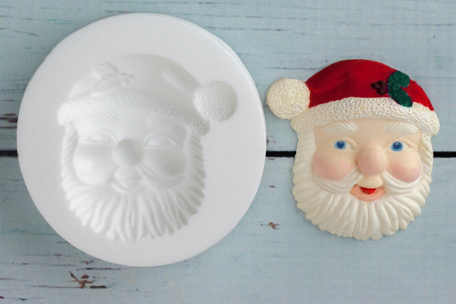 Father Christmas cupcake mold- Santa head Silicone Mould - Ellam Sugarcraft Moulds For Fondant Or Chocolate