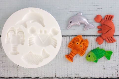 fish  Mould - crab dolphin lobster mould-  Ellam Sugarcraft cupcake cake craft Moulds For Fondant Or Chocolate