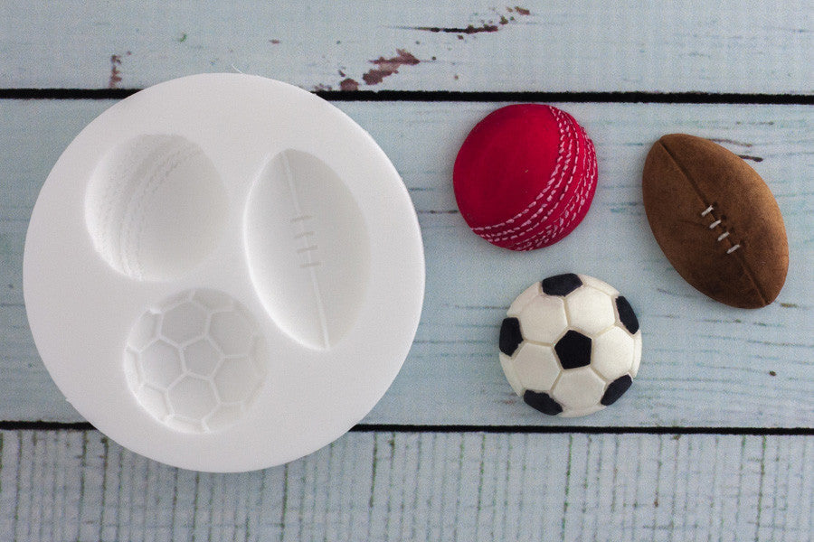 Cricket, Rugby & Football Sports Balls Silicone cupcake cake craft Mould - Ellam Sugarcraft Moulds For Fondant Or Chocolate
