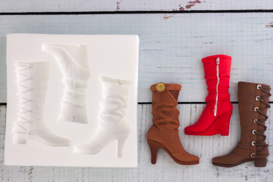 Ladies Fashion Boots Silicone Mould - Ellam Sugarcraft Moulds For Fondant Or Chocolate