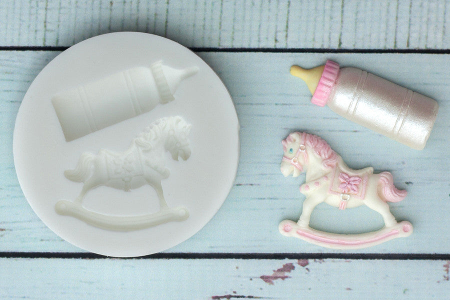 Rocking Horse mould - Baby Bottle Silicone Mould - Ellam Sugarcraft cupcake cake craft Moulds For Fondant Or Chocolate