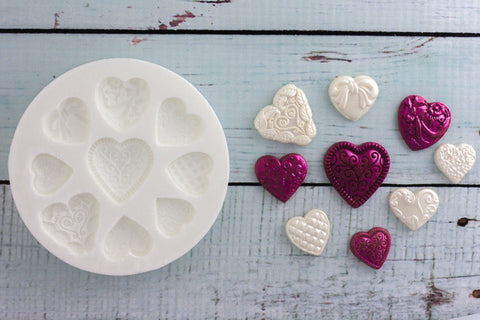 Embossed Hearts Silicone cupcake Mould - Ellam Sugarcraft cake craft Moulds For Fondant Or Chocolate
