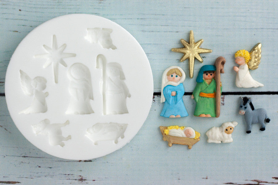 Christmas Nativity Silicone craft cake cupcake Mould - Ellam Sugarcraft Moulds For Fondant Or Chocolate