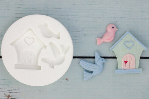 Bird House with Birds Silicone cake cupcake craft Mould - Ellam Sugarcraft Moulds For Fondant Or Chocolate