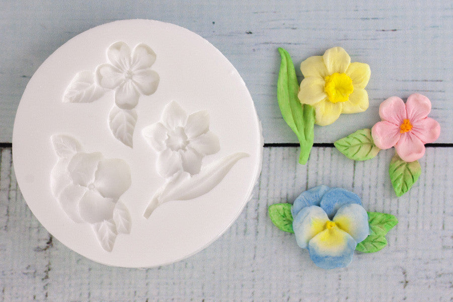 Spring Flowers Silicone Mould - daffodil mould - pansy cupcake mold - Ellam Sugarcraft cupcake cake craft Moulds For Fondant Or Chocolate
