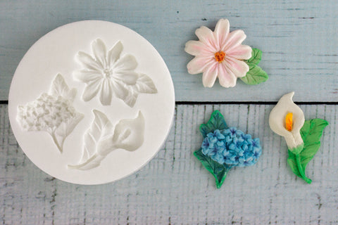 Summer Flowers Hydrangea, Lily Silicone Mould - Ellam Sugarcraft Moulds For Fondant Or Chocolate