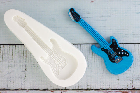 Electric Guitar mold- guitar  Silicone cake cupcake craft Mould - Ellam Sugarcraft Moulds For Fondant Or Chocolate