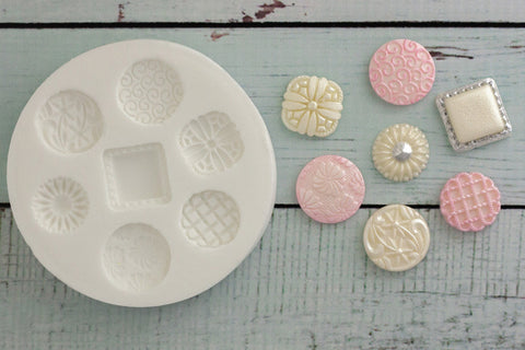 Decorative Brooch Buttons Silicone Mould - ellamsugarcraft