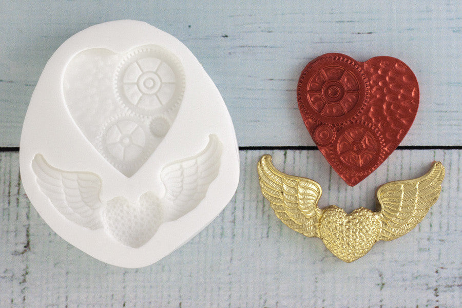 Steampunk Hearts Silicone Mould - Ellam Sugarcraft Moulds For Fondant Or Chocolate