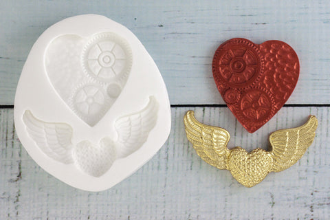 Steampunk Hearts Silicone Mould - ellamsugarcraft