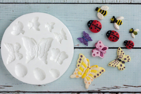 Ladybird, Butterfly, & Bee Silicone Mould - Ellam Sugarcraft Moulds For Fondant Or Chocolate