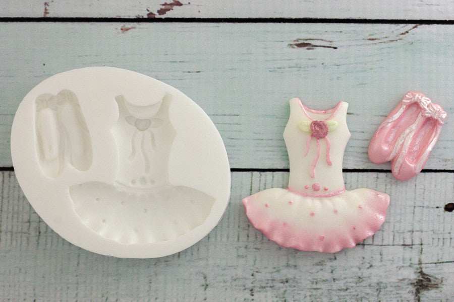 Ballet Tutu & Ballet Shoes Silicone cake cupcake Mould - Ellam Sugarcraft Moulds For Fondant Or Chocolate