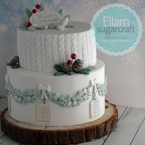 winter white knitted cake holly garland with hanging tags  - Ellam Sugarcraft Moulds For Fondant Or Chocolate
