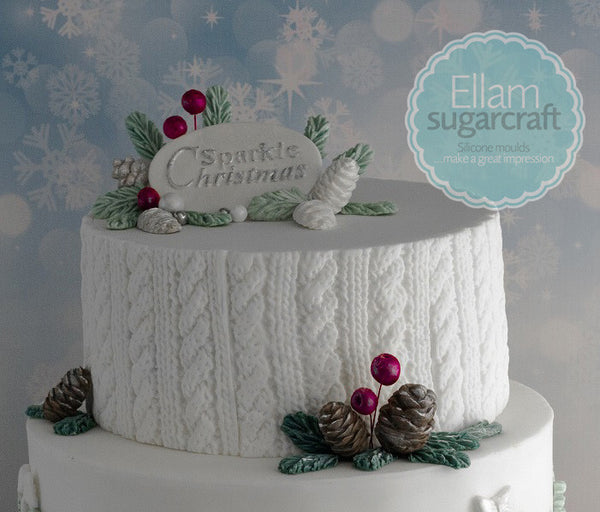Cable Knit,  rustic Knitted Christmas winter white wedding cake with pinecones - Ellam Sugarcraft Moulds For Fondant Or Chocolate
