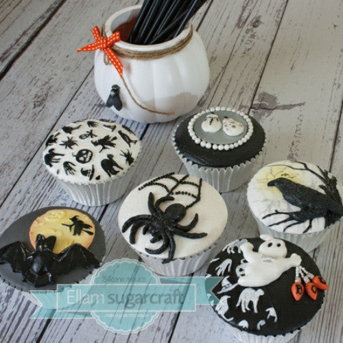 elegant Halloween cupcakes- black & white Halloween cupcakes Ellam Sugarcraft Moulds For Fondant Or Chocolate