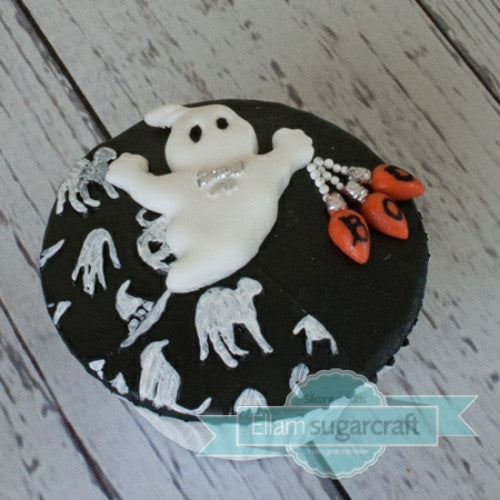Ghost cupcake - Halloween cupcake- black and white - spooky-Ellam Sugarcraft Moulds For Fondant Or Chocolate