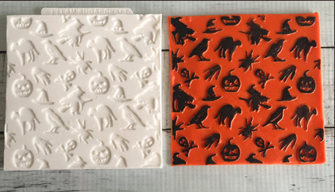 Halloween pattern cupcake embossing mat- Halloween Texture Mat Silicone Mould - Ellam Sugarcraft Moulds For Fondant Or Chocolate